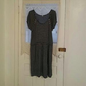 J. Crew striped dress with waist draw string